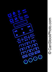 Isolated lighted TV remote control - A Isolated lighted TV...