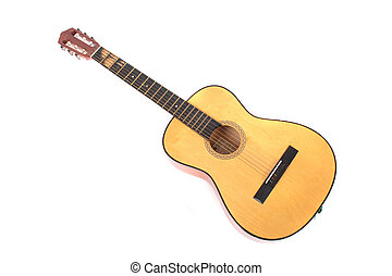 guitar - nice old guitar on the white background