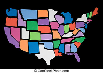 USA textured map puzzle - textured USA map puzzle outline...
