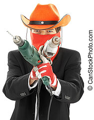 construction cowboy - man in corporate suit and cowboy hat...