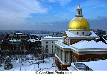 state house snow - the golden dome of the massachusetts...