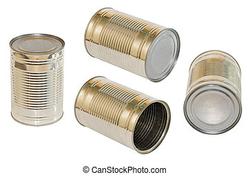 Canned food opened, four kind, isolated