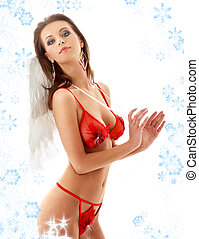 girl in red lingerie with angel wings and snowflakes #2 -...