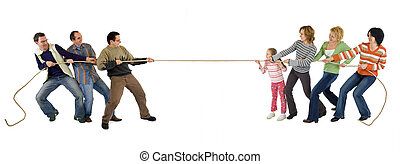 Casual man and woman playing tug of war - isolated on white...