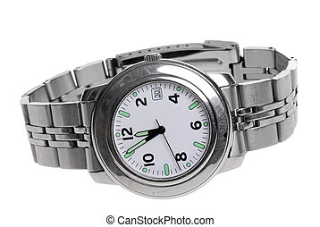 Mans steel watch - Mans stainless steel wrist watch isolated...