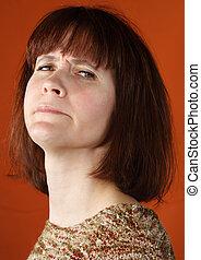 conceited woman portrait - conceited woman closeup portrait