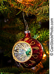 ornament on xmas tree - ornament on natural christmas tree