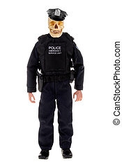 Police officer with skull - plastic toy police officer doll...