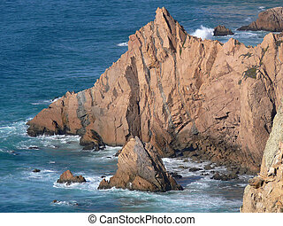 Jagged Rocks - Jagged Rocky coastline of Portugal (Cabo Da...