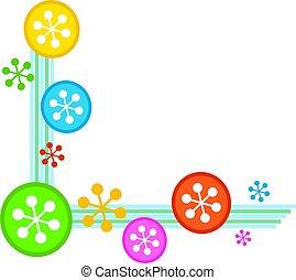 snowflake corner border - colourful retro style snowflake...