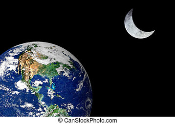 Earth and Crescent Moon isolated over a black space...