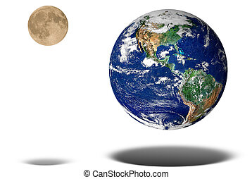 Earth and Moon floating isolated over a white background
