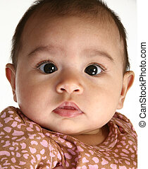 Beautiful Hispanic Baby - close up of a beautiful three...