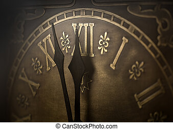 Almost twelve. - Old clock with roman numerals. Selective...