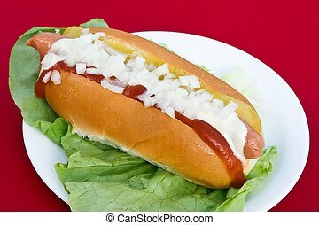 Hot dog with onion, ketchup and mustard