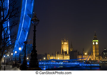London At Night - Night time shot of London showing Big Ben,...