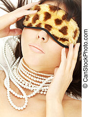 pearls and leopard mask #2 - lovely brunette with pearls in...