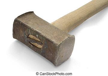 heavy hammer - Heavy hammer on white background with...