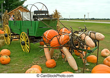 Pumpkin and Gourd Horses - Two horses made out of pumpkins...