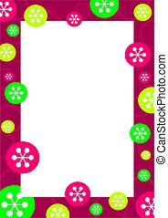 retro flake frame - decorative seasonal retro snowflake...