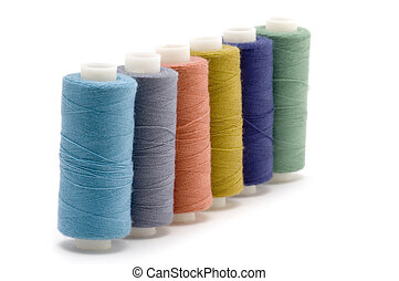 Four spool of thread - object on white: spool of thread
