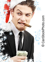 bad santa with snowflakes - corporate suit man playing bad...