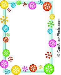 snowflake border - colourful festive retro snowflake frame...