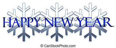 Happy New Year - A blue New year banner featuring snowflakes...