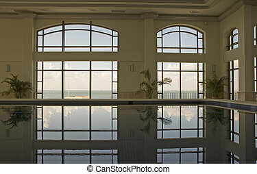 Spa Pool Reflection - Indoor pool at a spa reflecting the...