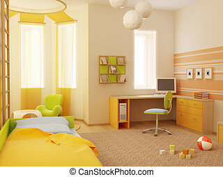 children\\\'s room int - 3d interior of the children\\\'s...