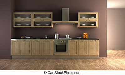 classic style kitchen interior 3d rendering
