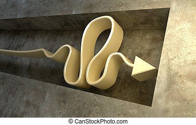 impasse situation - 3d rendering of the arrow in the...