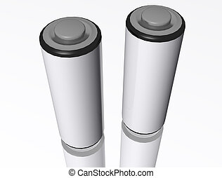 3d AA Batterys - A 3d render of two AA batterys on a...