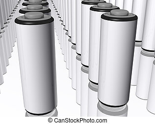 3d AA Batterys - A 3d render of lots of AA batterys on a...