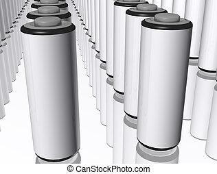 3d AA Batterys - A 3d render of lots of AA batterys on a...