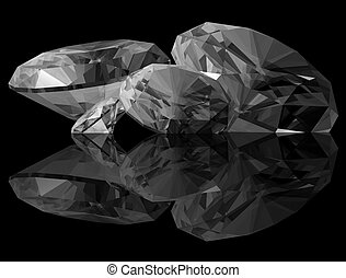 3d Diamonds - A 3d render of a diamonds isolated on a black...