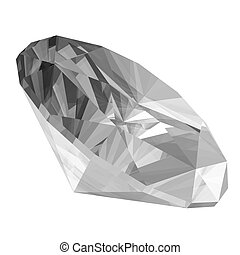 3d Diamond - A 3d render of a diamond isolated on a white...