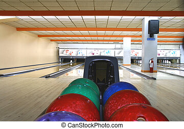 bowling alley - bowling balls with bowling lanes as...