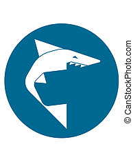 Shark logo - Simplified geometric shark icon in circle