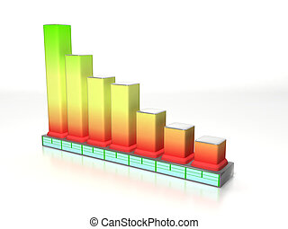 Histogram - 3d scene of business graphics in the manner of...