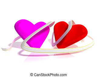 Two Hearts - 3d the image of two hearts with a beautiful...
