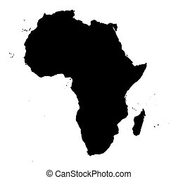 detailed Africa map - detailed Africa continent map. black...