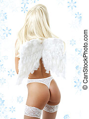 lingerie angel with snowflakes 2 - blond girl with angel...