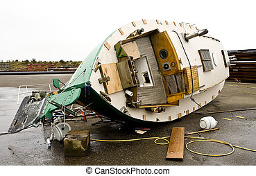 A Fall from Grace - Photo of a boat in drydock that was...