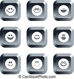 smilie buttons - collection of smilie face icons set on...