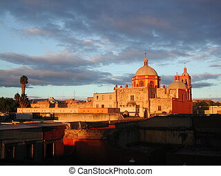 Church in queretaro - landscape with church in Queretaro...