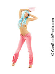 pink dance 2 - dancing girl in pink with blue hair over...