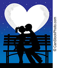 Couple Silhouette Moon - A silhouette of a couple with a...
