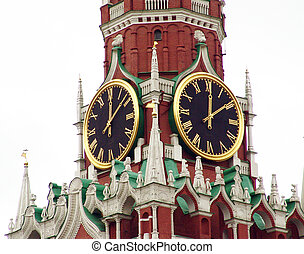 clocktower - Spasskaya clocktower of Kremlin, Moscow, Russia...