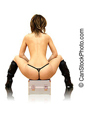 Naked - Beautifull girl sitting on the cosmetic box....